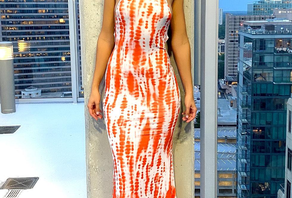 Tie Dye Print Lace-up Back Maxi Dress