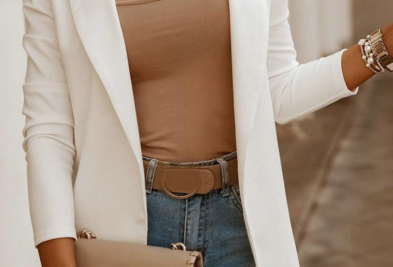 Beige Brief Solid Workwear Blazer Coat