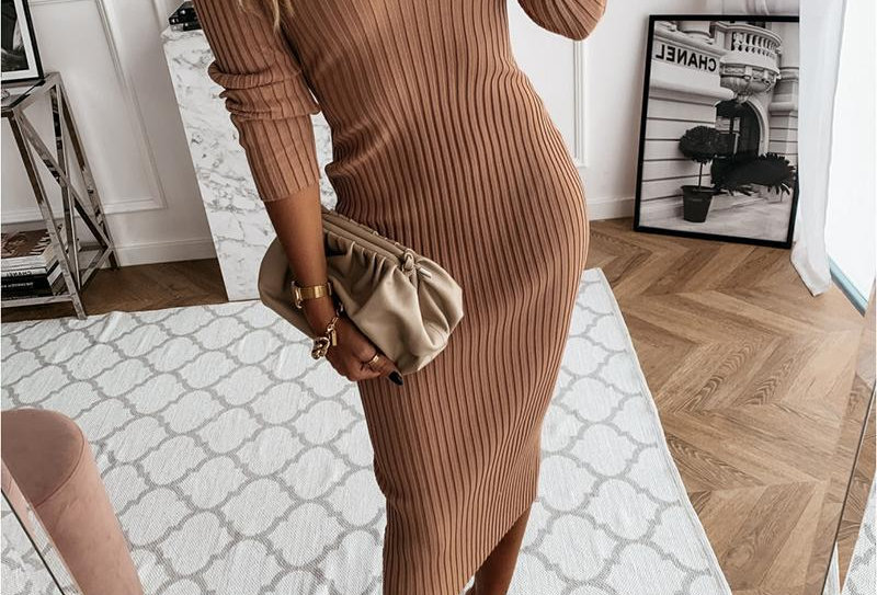 Plain Ribbed Long Sleeve Skinny Dresses