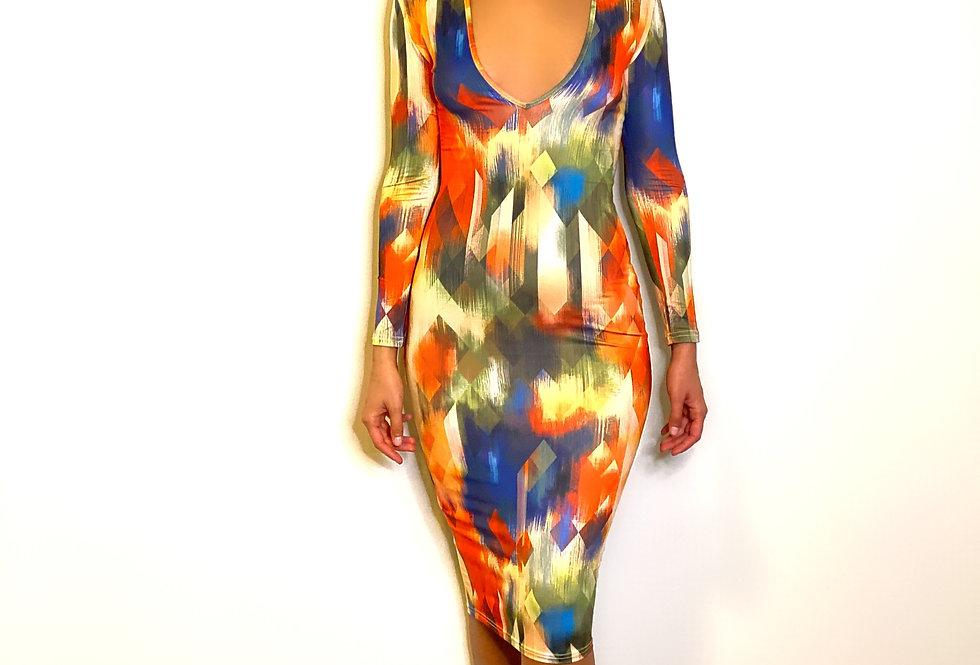 Plunge Printed Bodycon Midi Dress