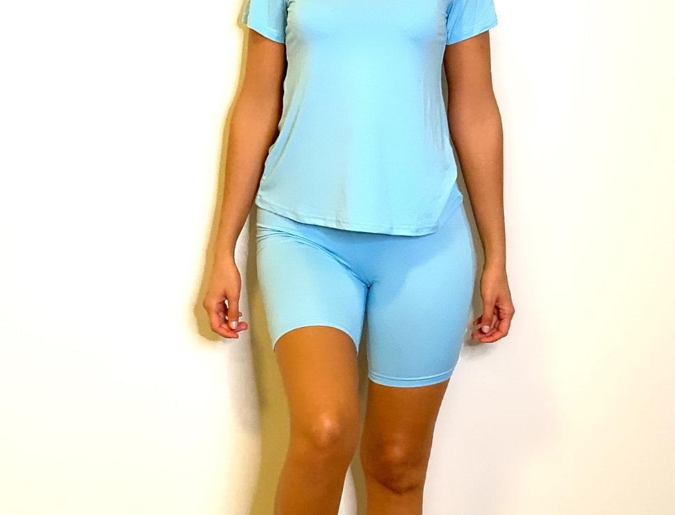 V-Neck Short Sleeve Casual Top & Shorts Set