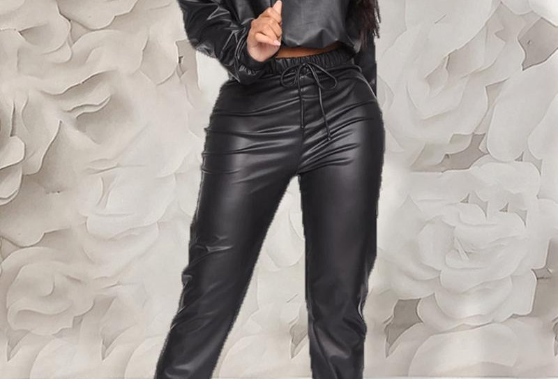 Faux Leather Hooded Drawstring Top & Pant Sets