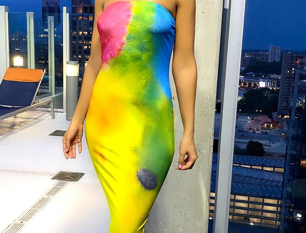 Bandeau Sleeveless Tie Dye Print Dress