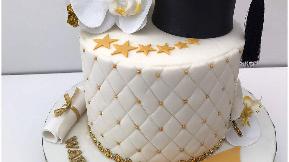 Golden and White Graduation Cake