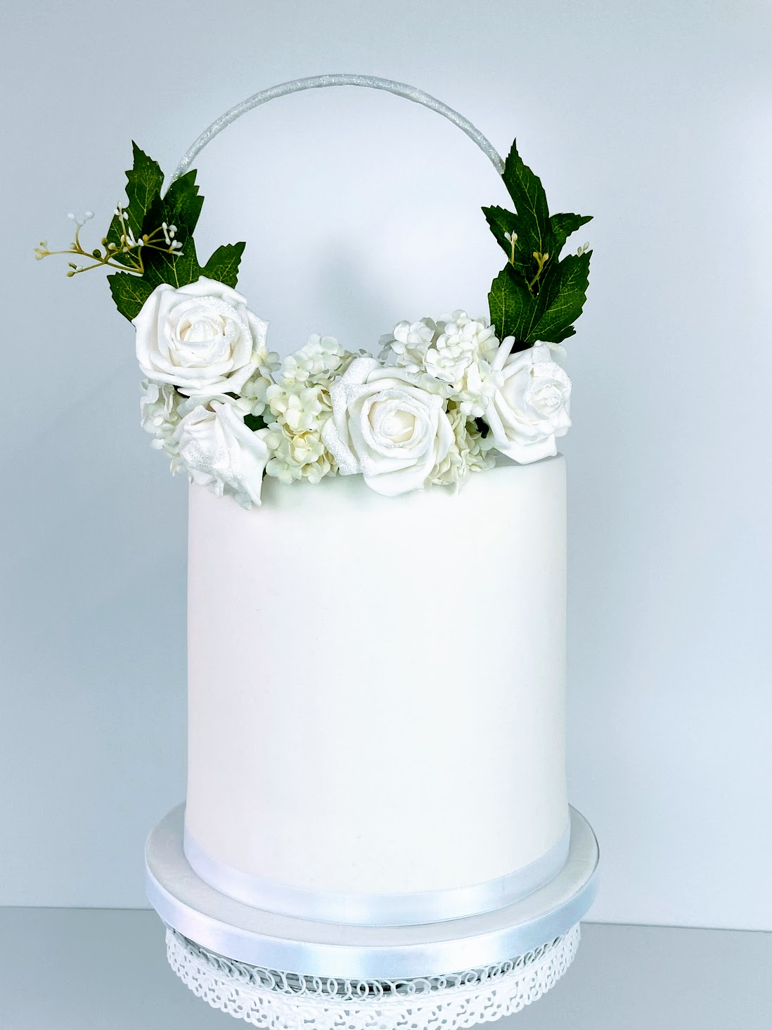 White Flowery Wedding Cake