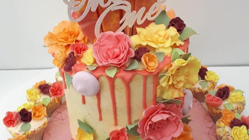 Flower Garden drip Cake with Cupcakes