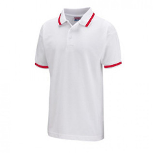 White polo with red lines