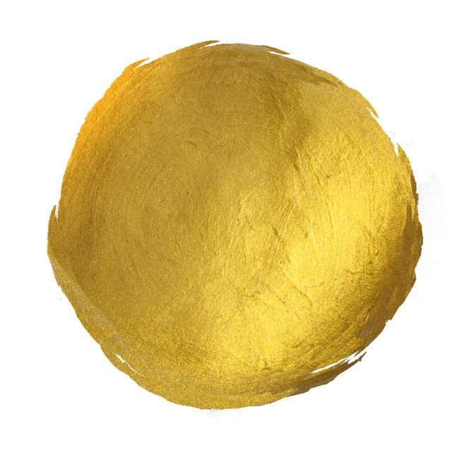 Gold Round Shining Paint Stain Hand Draw