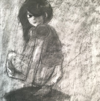 Charcoal drawing of a girl