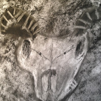 Ram's skull in charcoal
