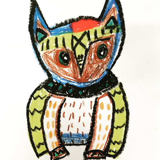 Owl in oil pastel
