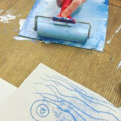 Whale mono print