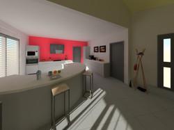 vue cuisine rouge