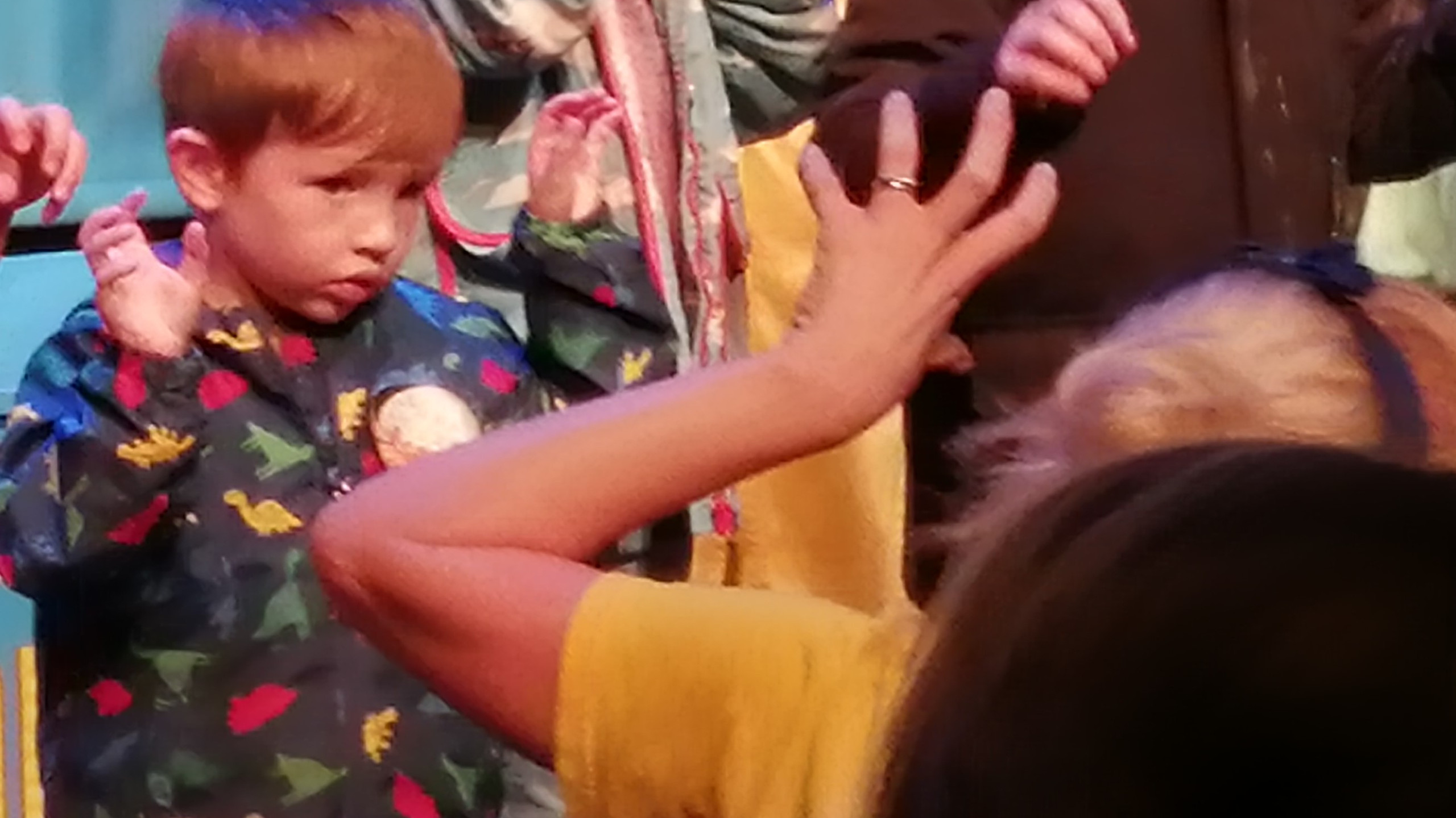 "Sebby helping to ""treat"" the animals on stage."