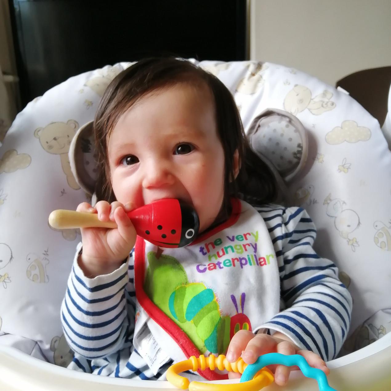 Matilda enjoying a nibble of her rattle