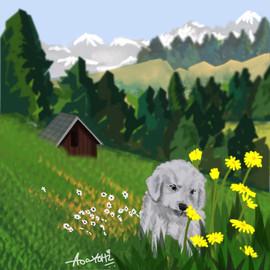 dog smelling flowers.jpg