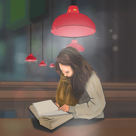 reading at a deserted restaurant.jpg