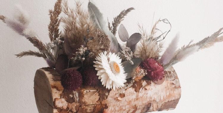 Bûche de fleurs séchées et stabilisées