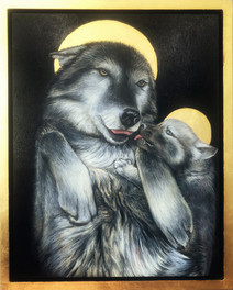 Wolf Madonna and Cub by Denise Monahgan - Astoria, USA