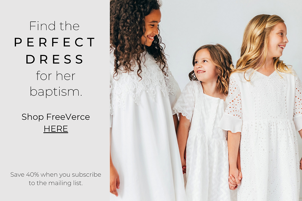 Picture of 3 girls advertising white baptism dresses