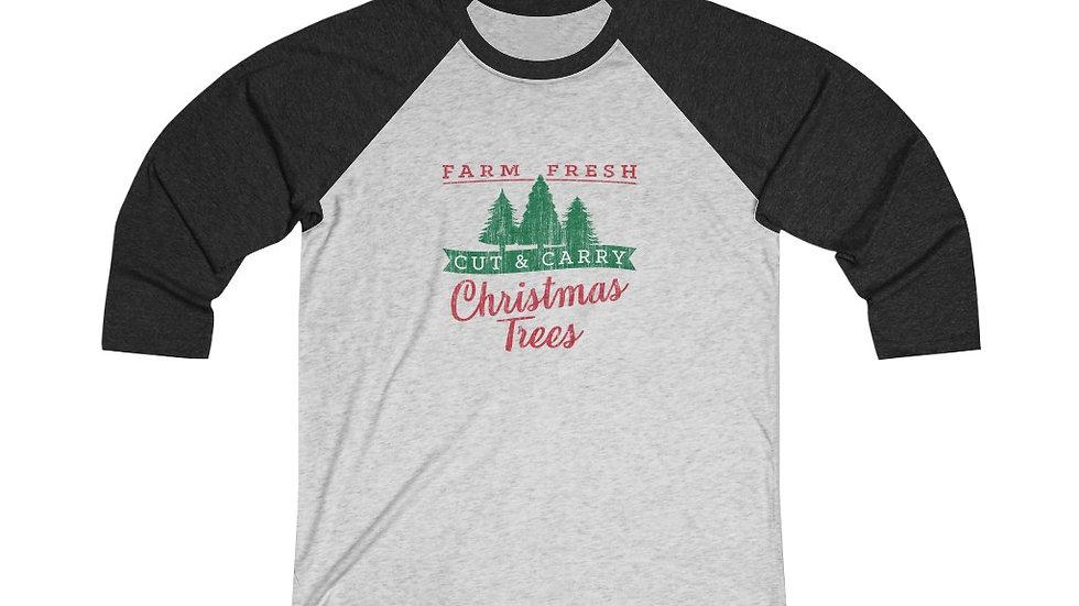 Christmas Trees Tri-Blend 3/4 Raglan Tee