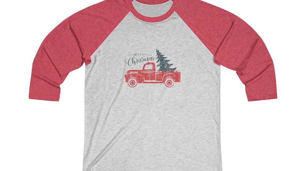 Merry Christmas Truck Tri-Blend 3/4 Raglan Tee
