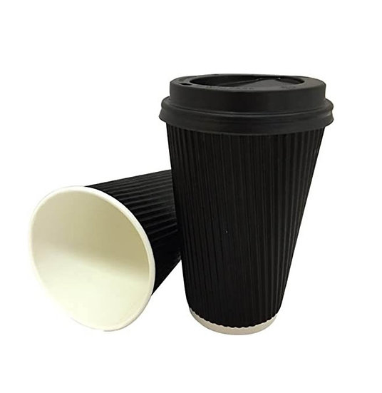 Insulated Triple Layer Hot Drinks Cup in Black 8oz (500)