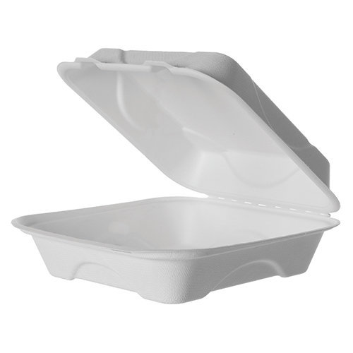 "Bagasse Food To Go 8"" Large Clamshell (200)"