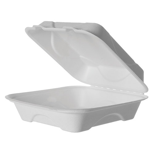 "Bagasse Food To Go 9"" Large Clamshell (200)"