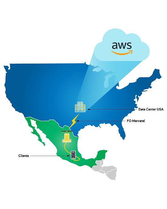 Mapa de servicio México - Estados Unidos