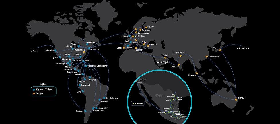 Mapa de la red internacional de fibra óptica de Marcatel