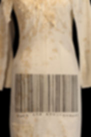"""<img src=""""dress with font.png"""" alt="""" a dress bearing the barcode font which says Fuck the Environment"""">"""