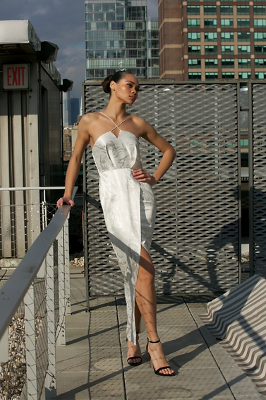 "<img src=""white and grey slit dress.png"" alt=""model wears a strappy dress in white with a long slit and poses on a manhatten roof top"">"