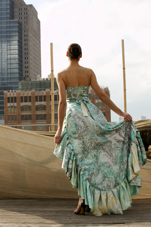 "<img src=""Long Green Dress.png"" alt=""Model wears a green marbled dress with lots of ruffles and poses on a manhattan rooftop"">"
