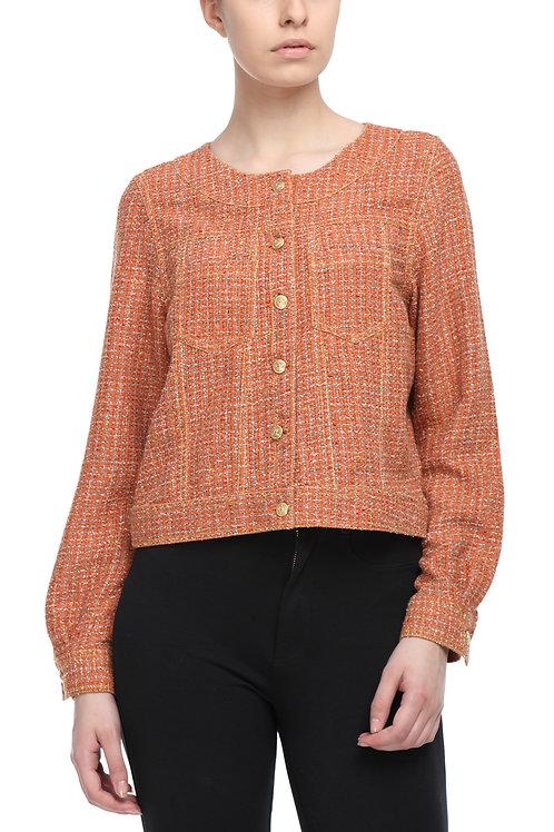 Orange Tweed Crop Jacket