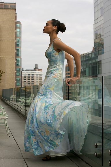United nations Runa Ray sustainable designer fashion couture best haute couture sdg water painting marbled