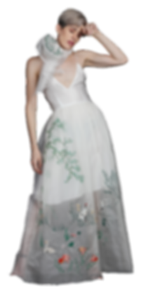 Hand Stitched gown with embroidery United nations Runa Ray sustainable designer fashion couture best haute couture sdg