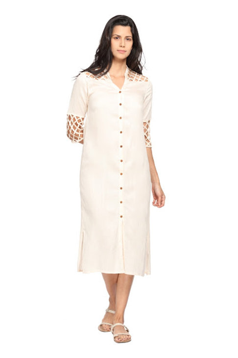 Lattice Tunic in Bamboo Silk