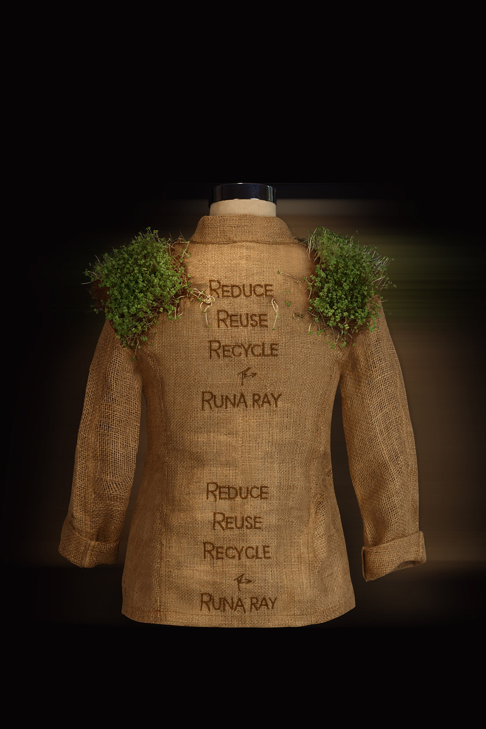 "<img src=""jute jacket.png"" alt=""  Jute zipper  jacket with mustard sprouts on the shoulder pads and words that say Reduce reuse recycle Runa Ray"">"