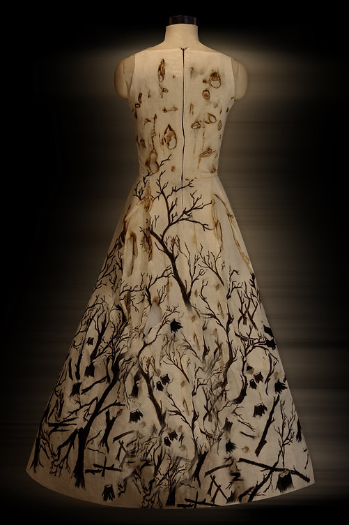 """<img src=""""Long painted dress.png"""" alt="""" The back of a dress that is burnt and shows forests destroyed and burnt"""">"""