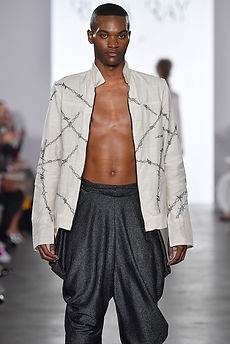 "<img src=""cowl pants.png"" alt=""black man wears Knit Lurex Slouchy Pants and an open jacket"">"