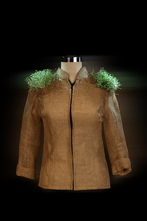 "<img src=""jute jacket.png"" alt="" Jute zipper  jacket with mustard sprouts on the shoulder pads"">"