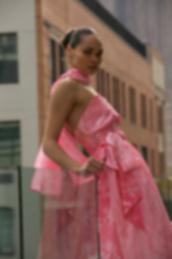 """<img src=""""pink dress.png"""" alt=""""model wearing a pink marbled dress with a scarf and belt in a new york balcony and posing """">"""