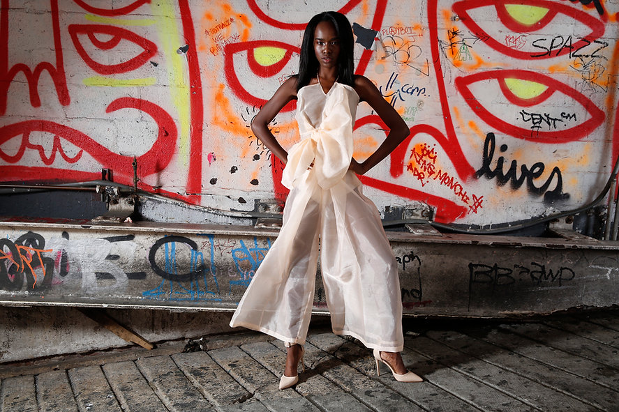 """<img src=""""pink sheer jumpsuit.png"""" alt="""" black girl poses wearing a sheer pink organza jumpsuit and pink heels against a red graffiti backdrop"""">"""