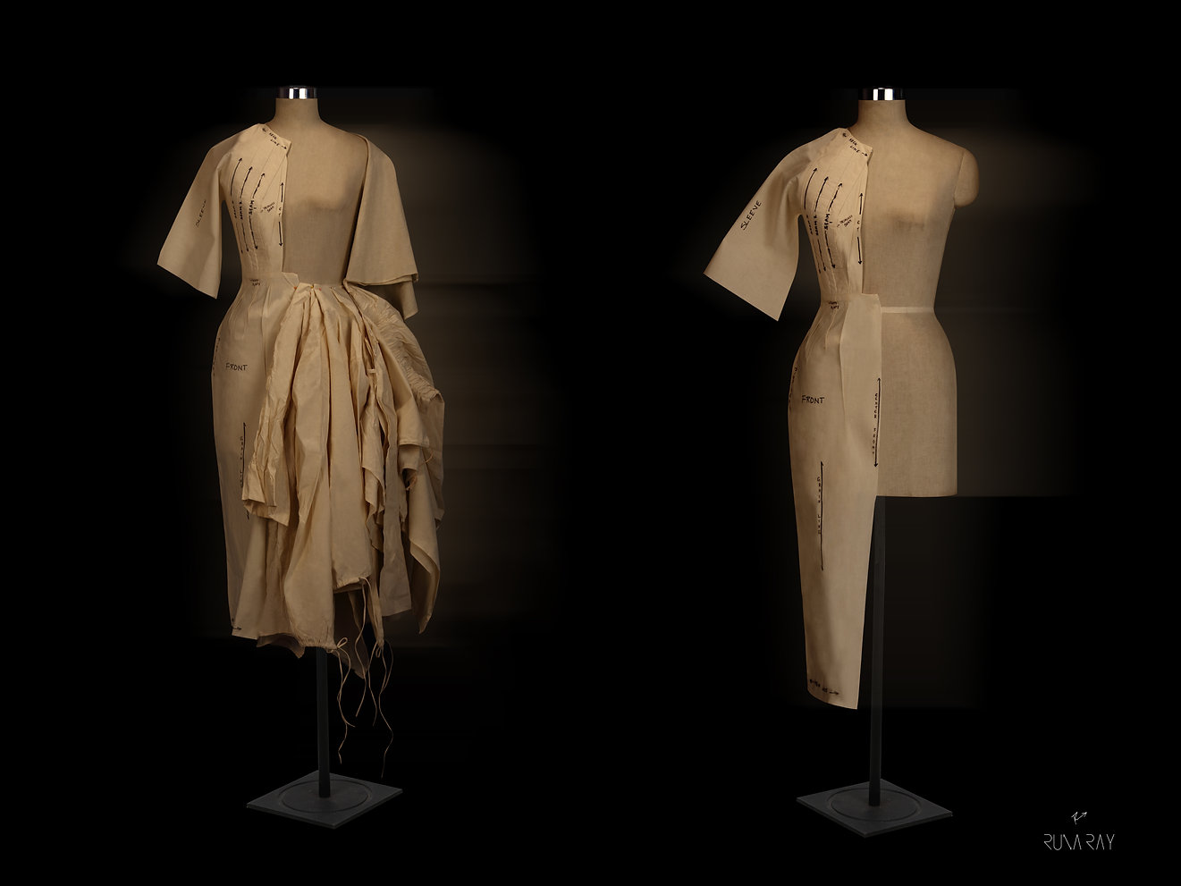 """<img src=""""Draped Muslin.png"""" alt="""" industrial waste muslin draped to create silhouettes"""">"""