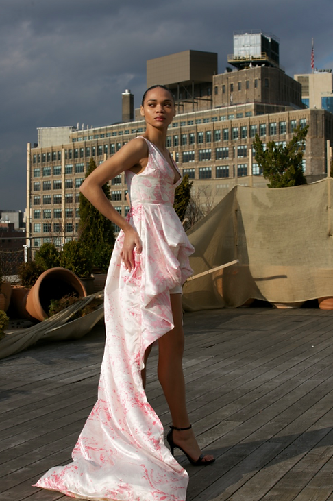 """<img src=""""Pink long dress.png"""" alt="""" Model wears a pink tiered dress in marbled pink and white and poses on a rooftop in manhattan"""">"""