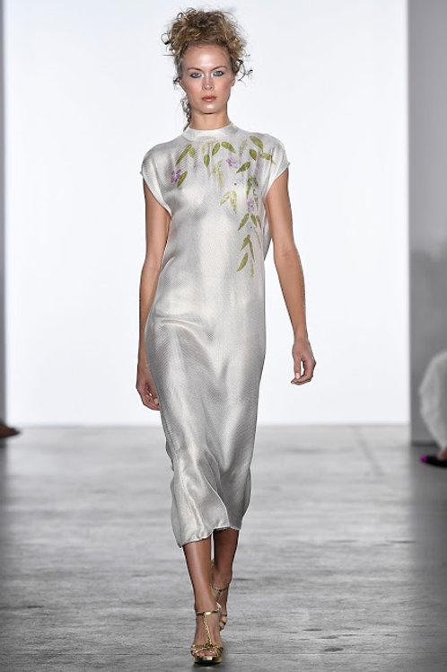 Silk Jacquard Dress with a Back Cowl