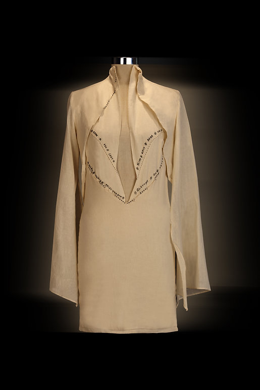 """<img src=""""draped dress.png"""" alt=""""  industrial waste muslin draped to create silhouettes and the illuminated letters which in french say bad conduct"""">"""