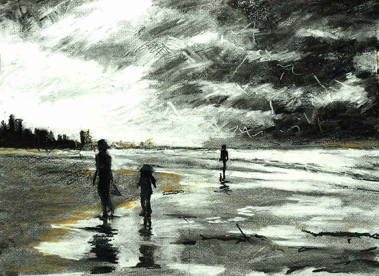 Mother and  children on Beach