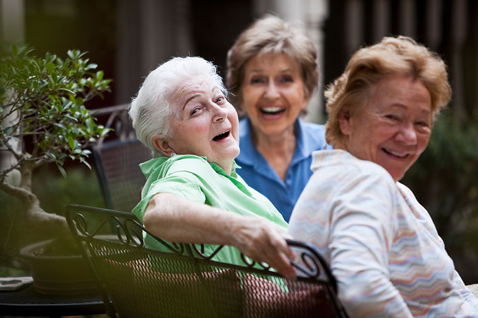 Ladies having a good time in the back patio at Ocean Breeze Estates, in camarillo 1132 blue oak street, camarillo, Ca, 93010